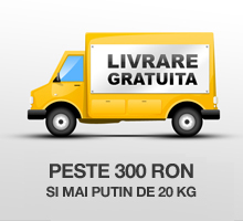 Livrare gratuita pentru comenzi mai mari de 300 RON si cu grautate mai mica de 20Kg.
